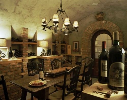 georgianadesign:  Mediterranean-style wine cellar. Summerour Architects.
