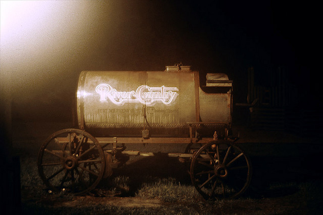 rememberingdisney:  River Country Wagon by Better Living Through Imagineering on Flickr.   this now sits backstage behind the settlement trading post. home to all the snakes that tried to kill me.