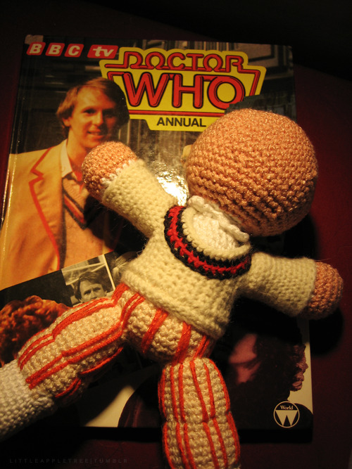 Fifth Doctor Doll (in progress) littleappletree:  My current work in progress. I'm not completely happy with the trousers though.