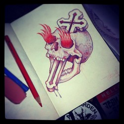 Jean Le Roux - when theres nothing left to burn… Another skull sketch. *FOLLOW* (Taken with instagram)