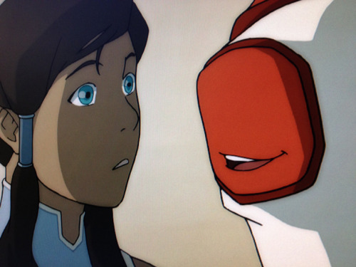 bryankonietzko:  Retakes, retakes, retakes. Let's see… Korra's face is a little off model, but I could live with it. Hmmm… There's something weird about Bolin's elbow…  Koh stole the face off of Bolin's elbow!