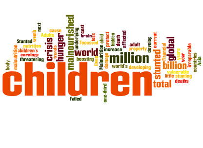 10 Facts about Children and Hunger One in four of the world's children are stunted, because of malnutrition Malnutrition is an underlying cause of the death of 2.6 million children each year – one-third of the global total of children's deaths If a child becomes malnourished in the womb or before the age of two the damage can beirreparable As the world is focussed on the financial crisis, a hidden crisis of child malnutrition is threatening children's lives Change is possible. Brazil has made impressive improvements in the nutrition of its population. Around 80% of stunted children live in just 20 countries. Solutions are simple. There are 13 direct interventions, such as vitamin A, that are proven to have an impact on the nutrition and health of children and mothers. Improving nutrition is a good investment. Well-nourished children are less prone to diseases and illness and are more able to concentrate at school. Targeting support at pregnant and breastfeeding women, and children under 2, can make a difference. Tackling child malnutrition is the right thing to do. Children shouldn't be going to bed hungry every night.