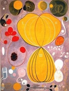 """Personal Development"" by Hilma af klint Hilma af Klint (1862-1944) was a spiritualist and follower of Theosophy who earned her living painting conventional portraits and landscapes. Her mystical body of work was intensely personal and she gave strict instructions that they were not to be shown in public until twenty years after her death, when she felt the public would be ready for them. Her work was eventually hung along side Piet Mondrian, Kandinsky, Frantisek Kupka and other pioneers in the domain of abstract painting.However, Klint herself did not see her work as abstract paintings, but as a message from the spirit world."