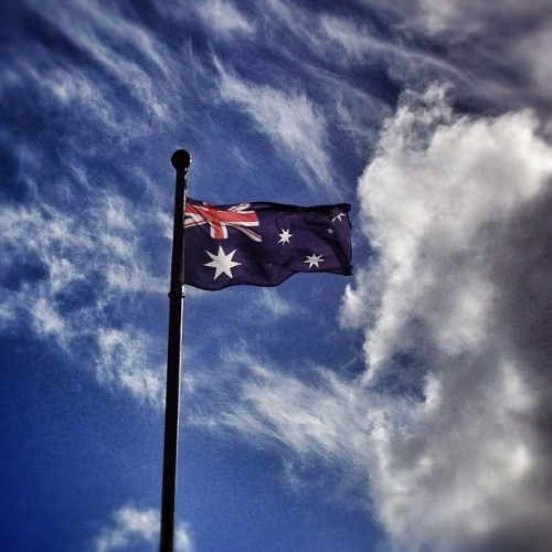 Remembering the heroes. #anzac #Australia #flag #sky #cloud (Taken with instagram)