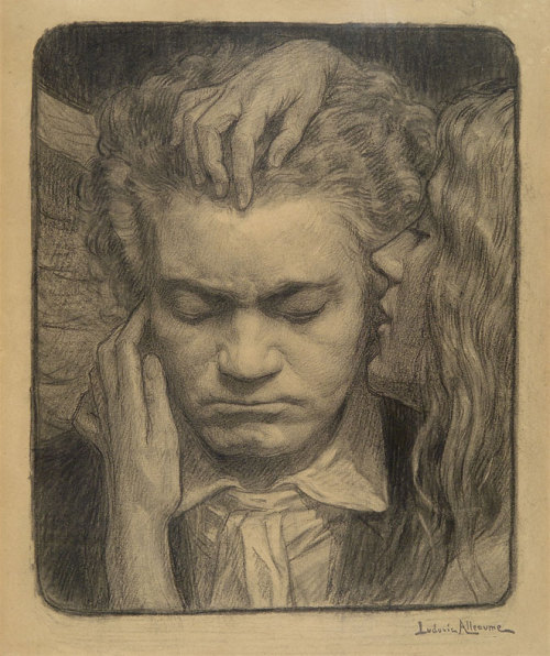 amare-habeo:  Ludovic Alleaume (1859-1941) The Portrait of Ludwig Van Beethoven, N/D  Galerie Alexis Bordes, Paris, France