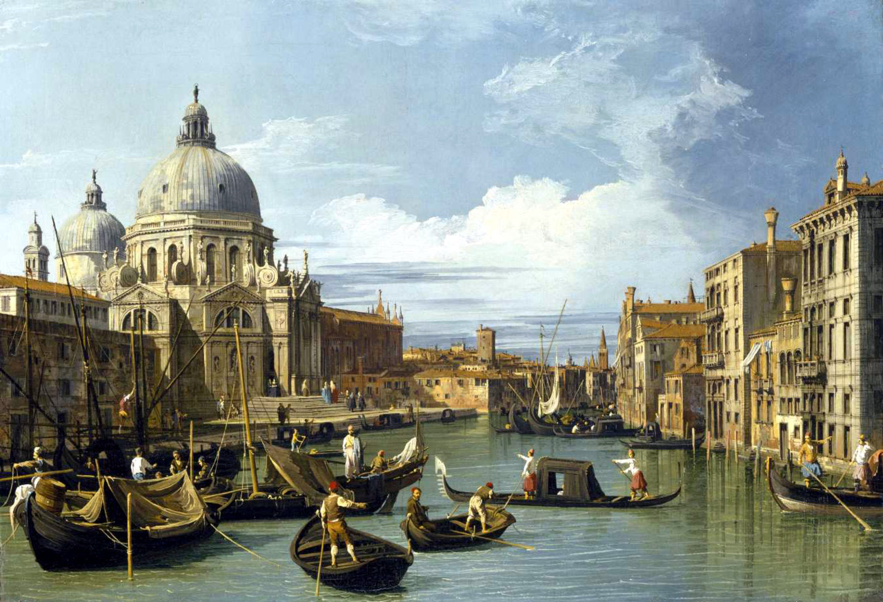 The Grand Canal and the Church of the Salute (1730), oil on canvas, Museum of Fine Arts, Houston | artwork by Canaletto