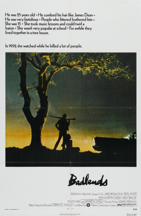 Badlands (1973)dir. Terrence Malick8/10  Monday: Sissy Spacek.