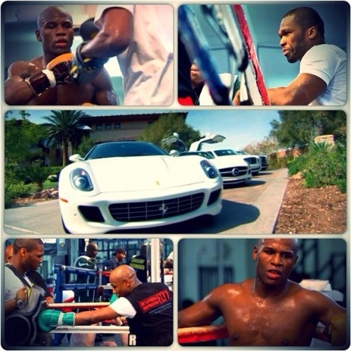 "FLOYD ""MONEY"" MAYWEATHER X 50 CENT Undefeated boxer Floyd Mayweather & The Money Team… preparing for May 5th bout against Miguel Cotto."