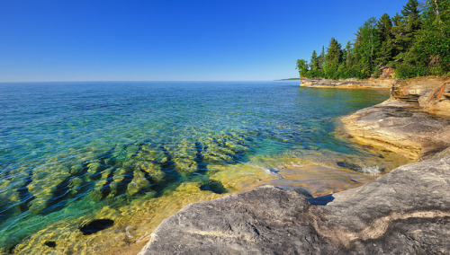 "aestheticmichigan:  ""Not a cloud"" (Coves area) Pictured Rocks National Lakeshore by Michigan Nut on Flickr."