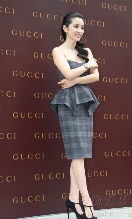 Li Bing Bing is pretty in plaid at a recent Gucci event.
