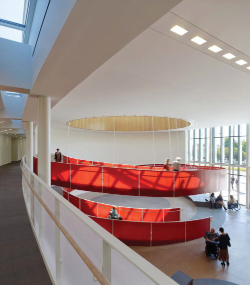 Ed Roberts Campus by Leddy Maytum Stacy Architects The helical ramp is wide enough for two wheelchairs to descend together, so people can continue conversations begun upstairs, it also wraps around a space that can be used for exhibitions or receptions.