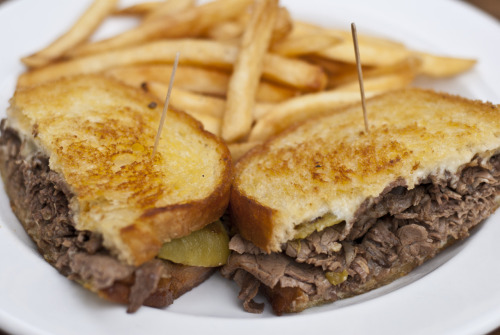Our very own Prospector Sandwich - sliced prime rib, swiss cheese, and ortega green chilies - served with fries!