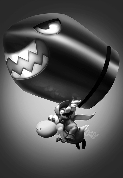 Super Mario Bros.  by Adam Law for Super Sketch Squad (Via: brain-food)