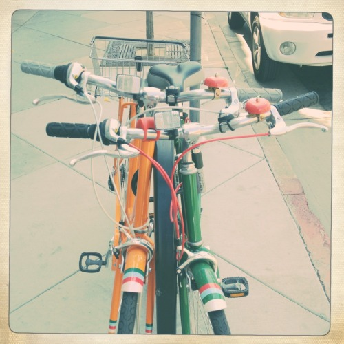 From the Archive: Bikes in Old Town Pasadena Adler 9009 Lens, Ina's 1969 Film, No Flash, Taken with Hipstamatic