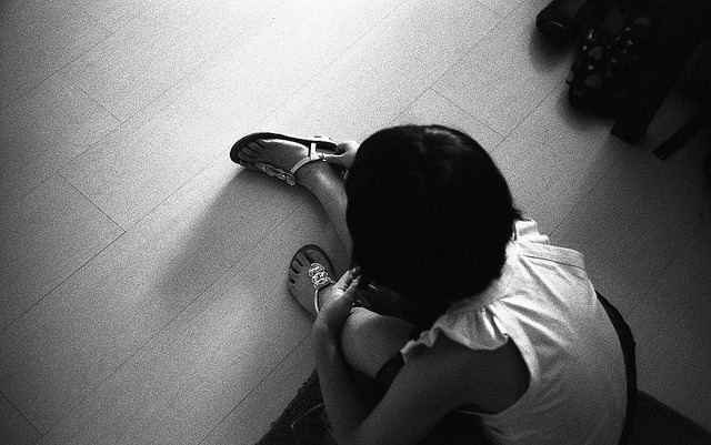Ready to go out on Flickr.Ilford FP4@400, Zorki4 Jupiter12 The new sandles is a present from a neighbor, she loves her new sandles.