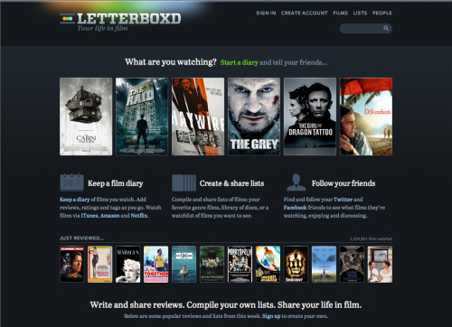 Letterboxd Congrats to Matthew Buchanan, Mike Harding and team on launching Letterboxd to the public!  Letterboxd is a social site for sharing your taste in film. Use it as a diary to record your opinion about films as you watch them, or just to keep track of films you've seen in the past. Rate, review and tag films as you add them. Find and follow your friends to see what they're enjoying. Keep a watchlist of films you'd like to see, and make lists about any aspect of film, for example: favorite heist films. Import historic data from several popular apps, and add films to your US Netflix instant queue directly from the site.  To top it all of the design and user interaction is beyond beautiful.