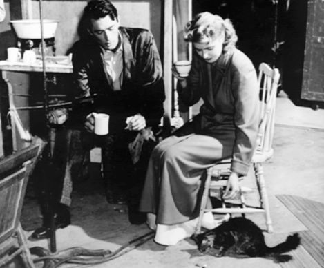 "Behind the scenes of ""Spellbound"": Gregory and Ingrid play with a kitty."