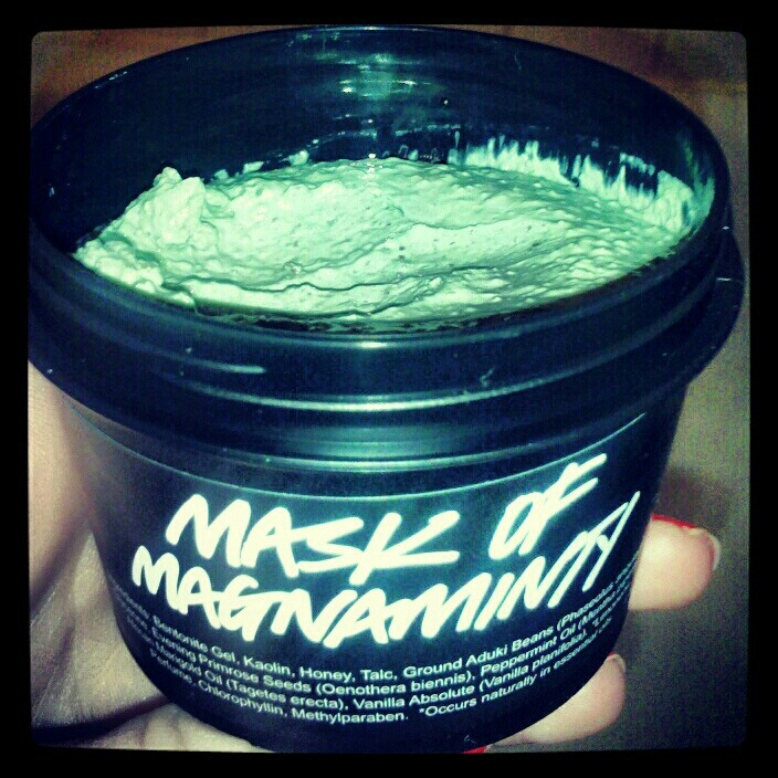 """Mask if Magnaminty"" by LUSH  This deep cleansing minty mask from LUSH doesn't need to be refrigerated. Therefore, I bought it (longer shelf life). It doesn't contain any produce, yet it is full of deep cleansing peppermint and china clay, soothing honey and scrubby aduki beans… whatever those are. Must mean legit, I guess.  It has a cooling sensation as you leave it on (roughly five minutes, give or take). You can really feel the coolness as you walk around… which is why I like to do wind sprints as I wear it, much more intense.   After it dries/hardens, you rinse off your face by scrubbing/exfoliating it. My face likes to be exfoliated, so I prefer this mask… it also makes your face smell like peppermint… which I hear Aaron Samuels from ""Mean Girls"" is a fan of. Yahtzee!  I think I'll put this on this evening… stay tuned."