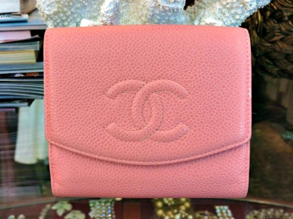 Chanel pink caviar leather wallet. Available at our Palm Beach location.