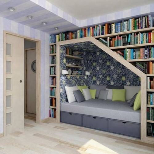 i love this idea! although I could never reach the books on the top shelf!