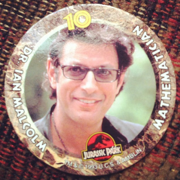freshphotons:  doozy: thenib:  Dr. Ian Malcolm, Mathematician and Pog. Found in my basement. (Taken with instagram)