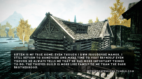 "skyrimconfessions:  ""Riften is my true home; Even though I own Proudspire Manor, I still return to Honeyside and make time to visit Brynjolf even though he always tells me that he has more important things to do. The Thieves Guild is more like family to me than the Dark Brotherhood."" http://skyrimconfessions.tumblr.com"