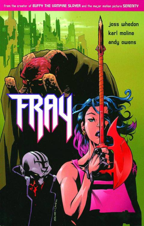 gingahsnap:  This is Fray. It is a super-duper awesome spin-off of Buffy by Joss Whedon. The art is gorgeous, the colors are just mmmmmmyeah and I just think more people should know about this series.  Yup, that's all.   OMFG Fray.   I love Fray.   Fray was what took me from liking Buffy to being a full-fledged Joss Whedon fangirl.   Fray introduced me to my ex-boyfriend.   Fray got me a job in a comic book store and all the various life developments that came from it.   I seriously owe this comic for like 64% of my awesomeness.  And for my current hair color choices. Um anyway, so people should read it.   It's a really good story.   Very accessible, even if you're not a huge Buffy fan.