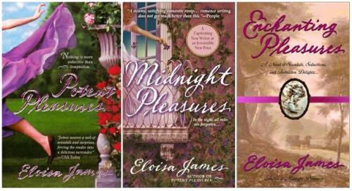 The Pleasures Trilogy is not Eloisa James at her best. While they have a certain amount of charm, all three books suffer from that most dreaded of romance tropes: a misunderstanding between the couple that comes about because they are too dumb to talk to each other.  Also, these covers. Good Lord.  So, Potent Pleasures features Charlotte Daicheston. A friend convinces her to sneak out and go to a reputation ruining lower class dance, in disguise of course. Charlotte meets a masked stranger and proceeds to be so overcome by pleasure that she has sex with him. It ends abruptly when he realizes she's a virgin. Her debaucher is Alex Foakes, the oldest of twins and an earl of some such. He and his brother, Patrick, are a bit wild, so they are sent abroad. Alex to the Continent; Patrick to India. Of course, Alex and Charlotte come thisclose to meeting in society before he leaves. Years pass, Charlotte is now friends with Sophie York. She spends her days painting and her nights reluctantly attending balls. Then she gets Eloisa's favorite Regency make over: empire waist dresses and short hair. And wouldn't you know, Alex is back from his travels. Needless to say, Charlotte and Alex reconnect, sparks fly, and there is pleasure aplenty. Charlotte realizes Alex was the masked stranger, but he assumes that she has gotten him mixed up with Patrick. Charlotte does not do much to contradict his belief. Alex behaves like a complete ass, which does not stop him from sexing up Charlotte six ways from Sunday. They have a couple rough patches that could easily be resolved if they would just fracking communicate! Ultimately, it takes Patrick smacking Alex upside the head and Charlotte's near death to right things.  Patrick and Sophie take center stage in Midnight Pleasures. Sophie makes the most of being single, collecting a slew of admirers. Thanks to her parents' disastrous marriage, she determines to marry the dullest peer available. She is smart as a whip and has a knack for languages, which her awful mother tells her to conceal from the world. For his part, Patrick kissed her once and hasn't stopped thinking of her since. He spent his time abroad working for the foreign office and is roped into a sensitive mission back at home. Eloisa teases us and makes it seem like they are going to have a grand adventure in Turkey. Sadly, that is not to be. Patrick steals Sophie from her dull fiance and thanks to her mother's bad advice they have nothing but misunderstanding after misunderstanding. Which of course means minimal sexy times. Boo. Again, open communication would have helped.  I couldn't really get into this one, but even so, I found myself genuinely moved and teary eyed when tragedy befalls Patrick and Sophie. They work things out and are closer for it. There is also a sweet B plot with Sophie's jilted fiance. Book three brings a secondary character to the fore. Quill Dewland was injured in a riding accident. Although recovered, he is unable to ride horses or ladies without getting the worst migraine ever. So, his father arranges for his younger brother, Peter, to marry the daughter of a man that has leant him money over the years. Quill is immediately taken with clumsy plumb Gabby. Peter not so much. Gabby grew up in India with her eccentric father and is lacking in many of the refinements expected of English ladies.  Obviously, Quill swoops in and marries Gabby with the expected result: one awesome night followed by three days of hell. Quill refuses to talk about the issue resulting in a ~misunderstanding~ a-freaking-gain. Somehow, Gabby and Quill get roped into some foreign office affair having to do with a missing Indian prince to pass the time since they aren't constantly pleasuring each other. Gabby finds the time to summon a doctor she knew in India to help her with Quill's issue. She must resort to subterfuge to help him and nearly ends up dead for her trouble. Quill finally learns to communicate and all is well.  I like Eloisa James enough to give these books a 3 out of 5. They are fun and light for the most part with a few touching moments. They also drive home how important it is to talk to your partner. Plus, the pleasure parts are quite…hot.  Thank you, lobstie!