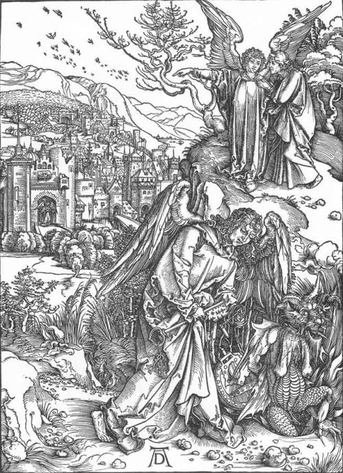 centuriespast:  DÜRER, AlbrechtThe Revelation of St John: 15. The Angel with the Key to the Bottomless Pit1497-98Woodcut, 398 x 286 mmStaatliche Kunsthalle, Karlsruhe