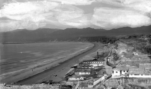 Circa 1890 view of the Santa Monica shoreline, looking northwest from the Arcadia Hotel.