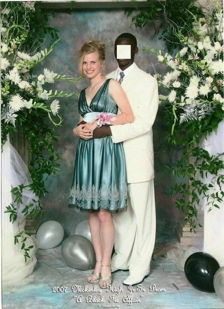 "My ex and I at our Junior prom in 2007. I'm 5'9"" he was about 6'4"".  If you look to the top of the picture the photographer got the top of the back drop in our portrait bc we were so tall! (his face is blanked out because we haven't been on speaking terms in quite some time)"