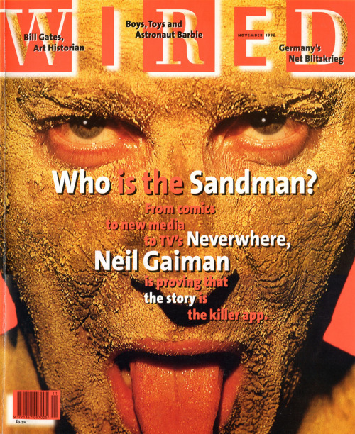 November 1996: I loved this. I was on the cover of a national magazine… and nobody was going to recognise me from it, and thus I was not going to be embarrassed. Also, it was in itself significantly less embarrassing than the other cover shots they did of me, topless, in angel wings, which they did not use. Having said that, do not, if you are a photographer, use builder's sand on a model's face. It has stuff in it you don't want on your skin for half an hour. Trust me on this.