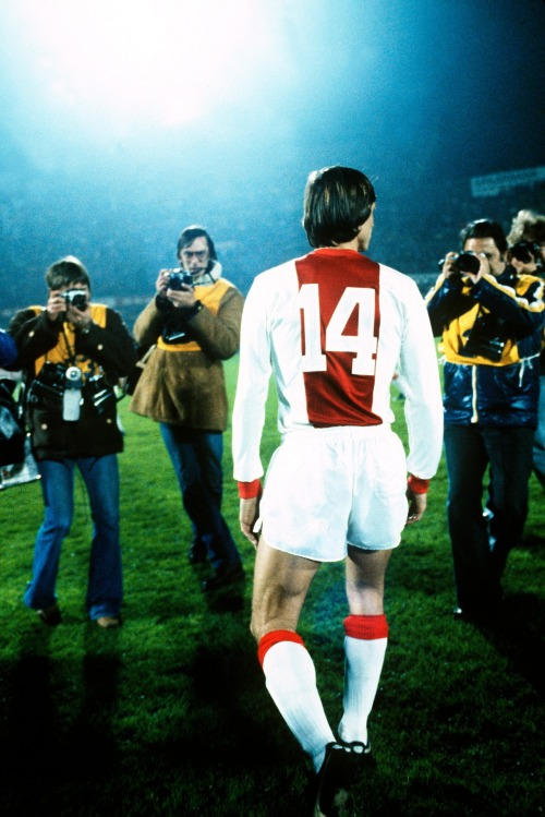 interleaning:  Johan Cruyff at his Ajax farewell match, 1978.