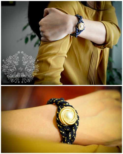 truebluemeandyou:  DIY Curtain Tie Back Button Bracelet. With this bracelet the button is actually the clasp. Also, Cous Cous Tangerine uses a curtain tie back (and their are lots of pretty ones out there), but you could use any kind of rope. Tutorial from Cous Cous Tangerine here.