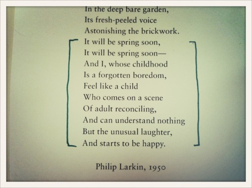 "Philip Larkin, ""Coming"""