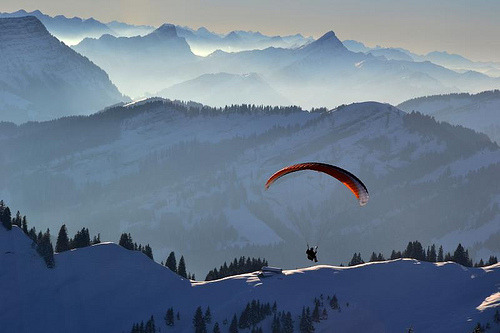 view-earth:  A paraglider (by sylweczka)