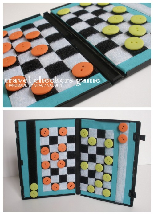 DIY Recycled DVD Case Travel Checkers Board. Another recycled DVD case project from Stacy Vaughn. Her DVD case coloring kit can be found in this post. Love her use of Velcro and buttons. Tutorial by Handmade by Stacey Vaughn here.
