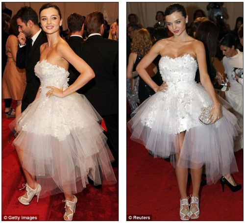 Australia's Miranda Kerr looking very Odette at the Alexander McQueen: Savage Beauty Met Gala 2011