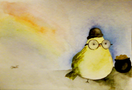Watercolor Leprechaun Bird Prompt by:  autumndragonfly Sorry, it isn't a real leprechaun… but who is to say they aren't really birds?! :]