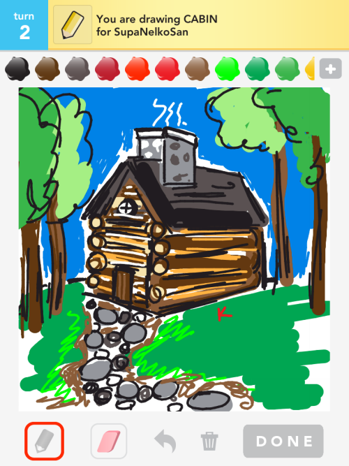 In the woods #DrawSomething #cabin