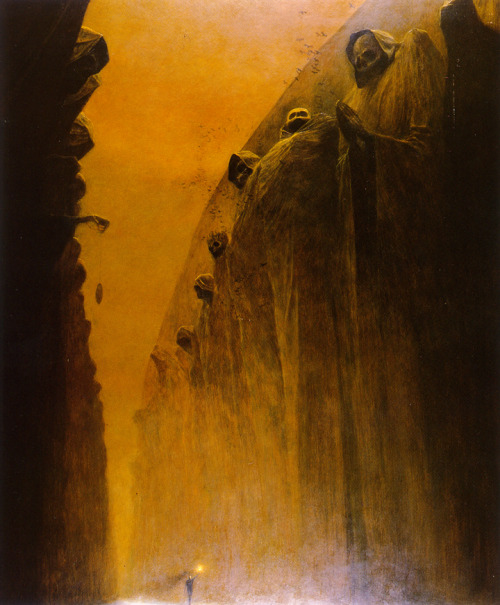 artyouguys:  Zdzisław Beksiński.  I find this dude utterly enchanting and creepy as hell.   These remind me of nightmares I had as a kid.