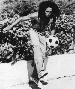 Bob Marley in action with the soccer ball