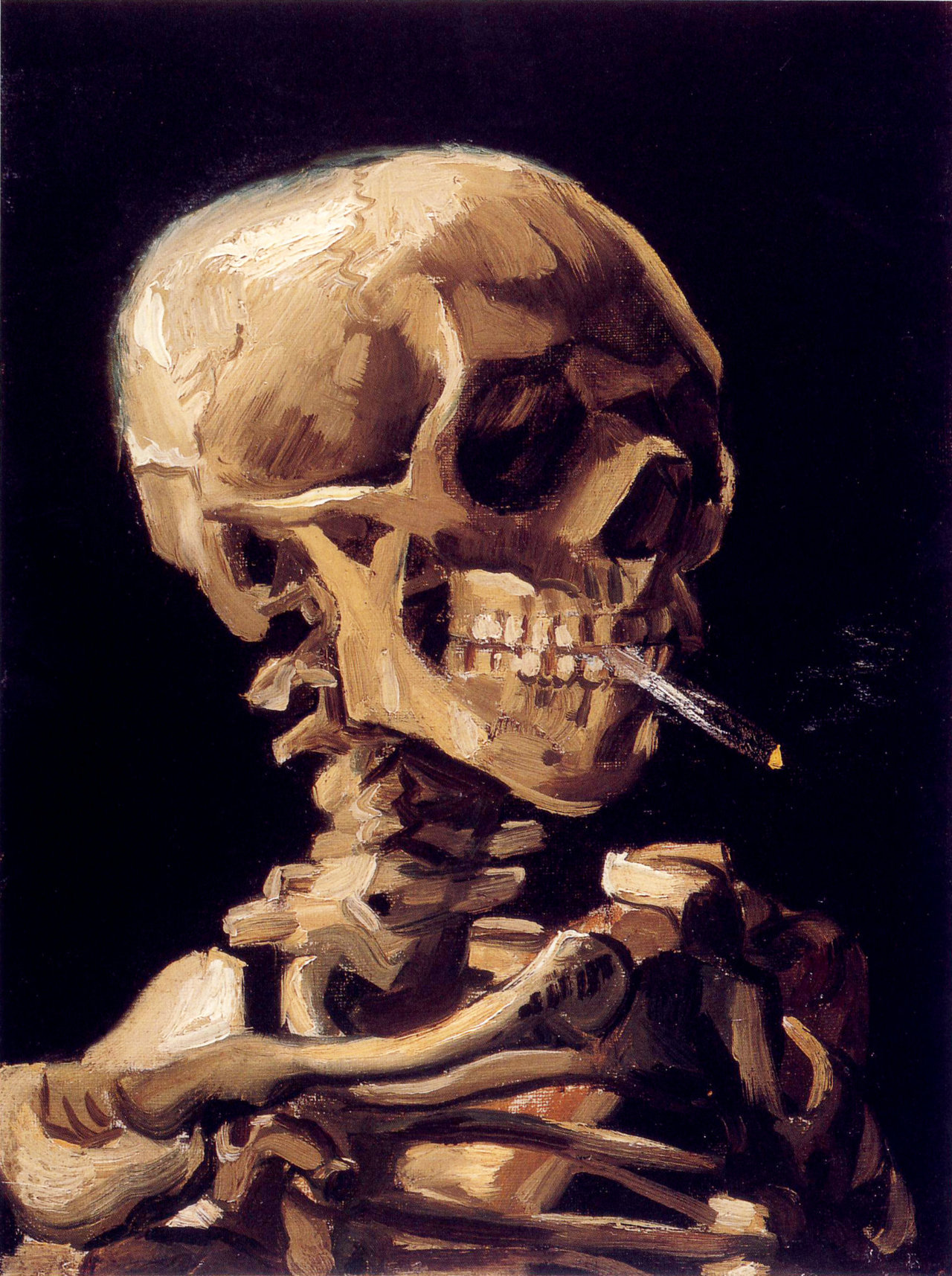 fckyeaharthistory:  Vincent van Gogh - Skull with a Burning Cigarette, 1885-86. Oil on canvas