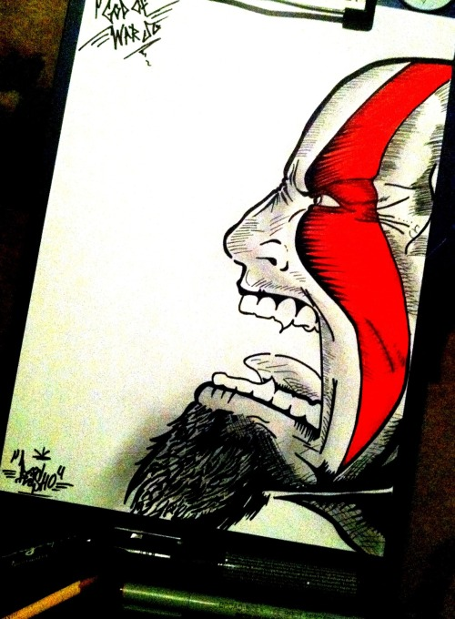 "Kratos "" God of War "" Drawing made it as a t-shirt design :D"
