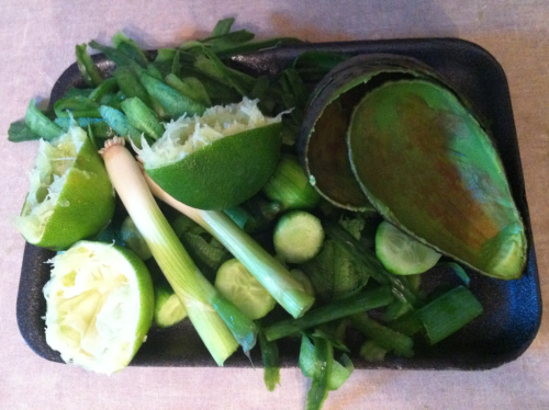 The bits and pieces left after making raw cucumber mint soup.