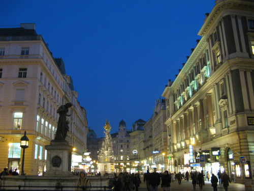 The Graben, Vienna, by night.