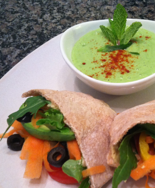 Raw vegan cucumber mint soup (chilled) with veggie & hummus pita pockets.
