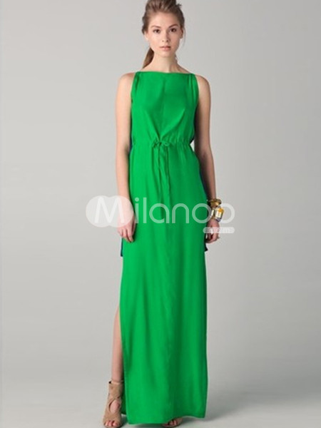 Classic Sleeveless Floor Length Polyeser Womens Party Dress :  floor length party dress sleeveless polyester