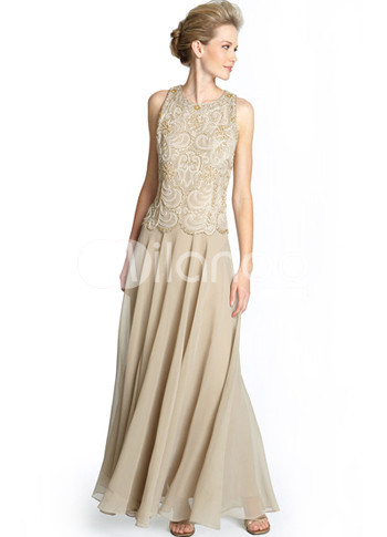 Romantic Champagne Sleeveless A-line Chiffon Mother of the Bride Dress :  bride dress romantic chiffon aline