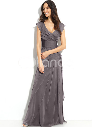 Graceful Gray V-Neck A-line Chiffon Mother of the Bride Dress :  bride dress chiffon aline gray